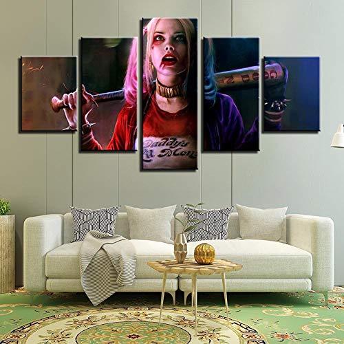 Angle&H Suicide Squad Harley Quinn Poster 5 Panels Segeltuch HD Gedruckt Malerei Wandkunst Bilder zum Wohnzimmer Schlafzimmer Dekor,A(unframed),L