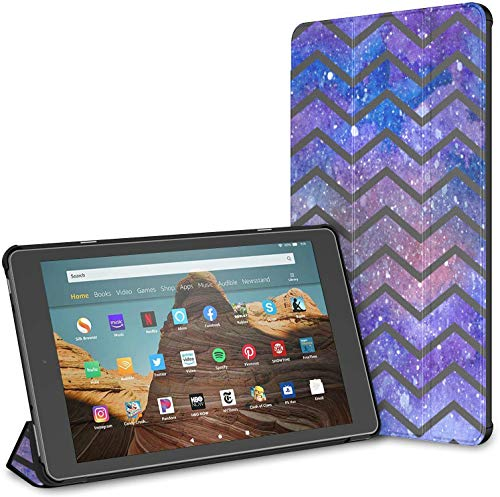 Case For Chevron Galaxy Waves Fire Hd 10 Tablet (9th/7th Generation, 2019/2017 Release) CasesKindleFire10 FireTabletHd10Case Auto Wake/sleep For 10.1 Inch Tablet