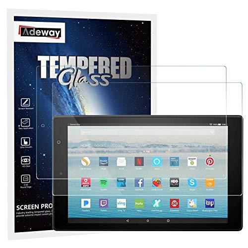 Adeway [2 Stück] Fire HD 10 (7th and 9 th Gen, Model 2017/2019 Folie) Glas-Bildschirmschutzfolie - Lebenslanger Ersatz、Klare HD-Bildschirmschutzfolie, auch kompatibel für Fire HD 10 Kids Edition