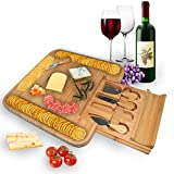 ROYAL HOUSE Unique Bamboo Cheese Board and Knife Set  Serving Tray for Crackers, Meat, and Wine  Wood Charcuterie Platter with Slide-Out Cutlery Drawer  Perfect Wedding and Housewarming Gift