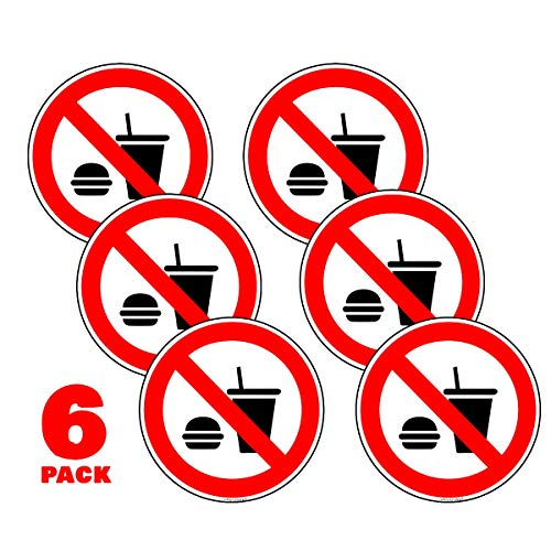 No Eating No Drinking Stickers 2 in. Car Window Door Decal Pack of 6 I Ideal for Taxis and Rental Vehicles