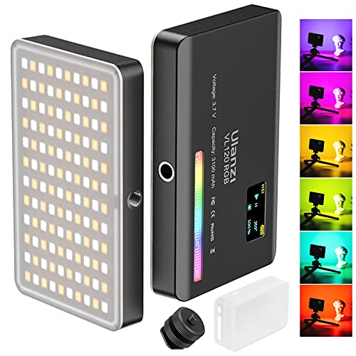 ULANZI VL120 RGB Video Light, Pocket LED On-Camera Video Lights, Built-in 3100mAh Rechargeable Battery, 360 Full Color 20 Light Effects, CRI≥95 2500-9000K LED Panels for Photography Vlogging