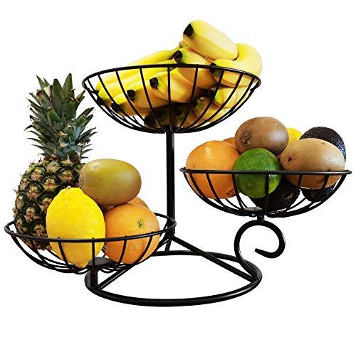 TREEZITEK 3 Tier Countertop Fruit Vegetables Basket Holder Decorative Fruit Bowl Storage Stand,Black