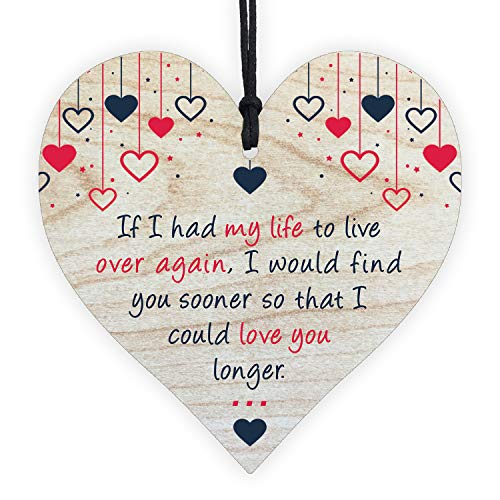 Wooden Hanging Heart Plaque Gift Love You Forever Leaving Miss Romantic Anniversary Her Him Women Quote Sign Present Ornament Best Friend Birthday Friendship Boyfriend Girlfriend Wedding Wife Husband