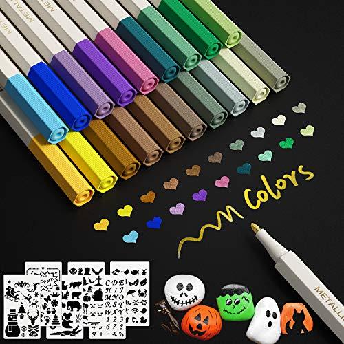 Metallic Marker Stifte 20Farben Metallic Pinselstifte Pens Set für Kartenherstellung DIY Fotoalbum...