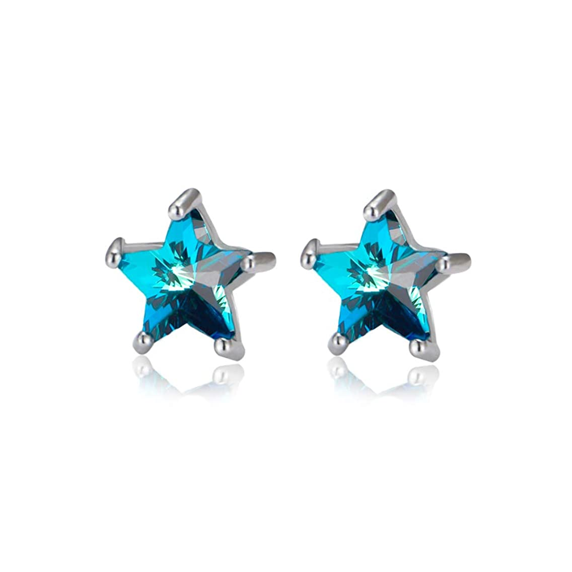 Lucky Star Cubic Zirconia Sterling Silver Stud Earrings Blue Crystal Cute Post Studs for Women Girls Nice Gift