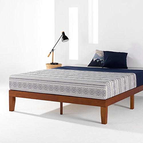 Mellow Naturalista Classic - 12 Inch Solid Wood Platform Bed with Wooden Slats, No Box Spring Needed, Easy Assembly, Queen, Cherry -  Best Price Mattress, BPM-CSWPB-12QC