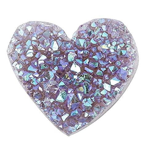 ANCLLO Cluster di Ametista Naturale a Forma di Cuore - Cluster di Ametista di Colore elettrolitico a Forma per la Decorazione Domestica, Cristalli curativi Pietre d'Amore