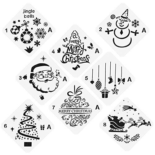 TWGT Weihnachtsschablonen Vorlagen, Wiederverwendbare Kunststoff Handwerk Zeichnung Malvorlage, Weihnachten Schablonen für Grußkarten Sammelalbum Basteln