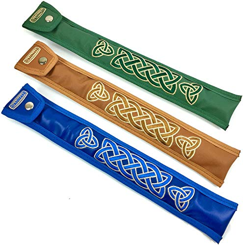 Handmade Irish Tin Whistle Case Sleeve by Dannan For C Whistles in Green, Blue or Brown Vegan Leather with Celtic Embroidery (Green)