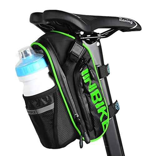 Arkmiido Fahrrad Satteltasche, Mountainbike-Zubehör Polyester-Satteltasche mit Tasche für 1,2 L Wasserflasche Mit Wasserdicht Kratzfest Reflektierendes Material (Fluoreszierendes Grün)