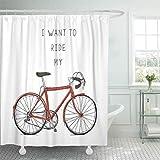 lovedomi Duschvorhang Fahrrad Hipster Vintage Fahrrad Fahrrad Fahrrad Zyklus Drawn Drive Duschvorhänge Sets mit 12 Haken 72x72 Zoll wasserdichtes Polyestergewebe Badezimmer-Set