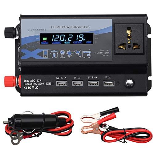 FDQNDXF Inversor de Onda Sinusoidal Modificada 3000W / 4000W / 6000W DC 12V / 24V a AC 220V Convertidor de Voltaje Inversor Solar con Enchufes Universales y Puerto USB, para Coche, Caravana