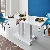 Moebella Hochglanz Esstisch Tisch Marbella 140x80cm Lack Weiss Säulentisch