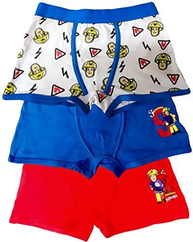Coole-Fun-T-Shirts 3X Jungen Boxershorts Unterhosen, kompatibel zu FEUERWEHRMANN SAM MEGAPACK Set Kinderslips Schlüpfer Unterwäsche Gr.122/128 (110/116)