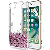 LeYi Funda Apple Iphone 7 / Iphone 8 Silicona Purpurina Carcasa con HD Protectores de Pantalla,Transparente Cristal Bumper Telefono Gel TPU Fundas Case Cover Para Movil Iphone 7 / 8 Oro Rosa