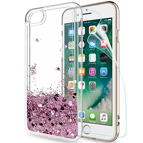 LeYi für iPhone SE 2020 Hülle,iPhone 7 /iPhone 8 Glitzer Handyhülle mit HD Folie Schutzfolie,Schimmernd Handy Hüllen Cover TPU Bumper Schutzhülle für Case Apple iPhone SE 2020/7/8 ZX Rosegold