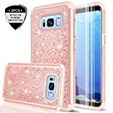 Samsung Galaxy S8 Case with 3D PET HD Screen Protector [2 Pack] for Girls Women, LeYi Glitter Bling [PC Silicone] Dual Layer Hybrid Heavy Duty Protective Phone Case for Samsung Galaxy S8 TP Rose Gold