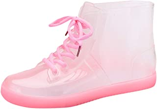 JJHAEVDY Women's Waterproof Rain Ankle Boots Clear Rain Boots Transparent Rubber Jelly Lace-Up Flats Anti-Slip Rain Shoes