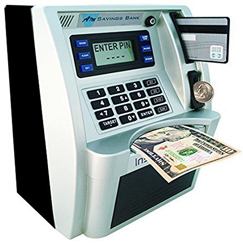 LB ATM Savings Bank Cash Coin Money Savings Machine,Personal ATM for Kids Boys Birthday Gift Toy,Sliver Black