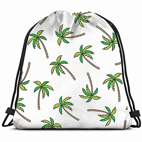 Palm Tree Doodle Nature Drawstring Backpack Gym Sack Lightweight Bag Water Resistant Gym Backpack For Women&Men For Sports,Travelling,Hiking,Camping