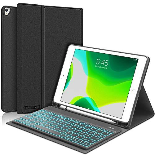 SENGBIRCH Tastatur Hülle für iPad 10.2 2019, Beleuchtet Tastatur (QWERTZ Layout) mit iPad 7 Hülle für iPad 10.2 2019/ iPad Air 2019 / iPad Pro 10.5 - Schwarz