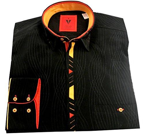 Leché Designerhemd Langarm in Schwarz mit gelb-roten Ecken auf der Knopfleiste (M)