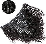 Extensiones de Clip Cabello Humano 4B 4C Afro Negro Extensio