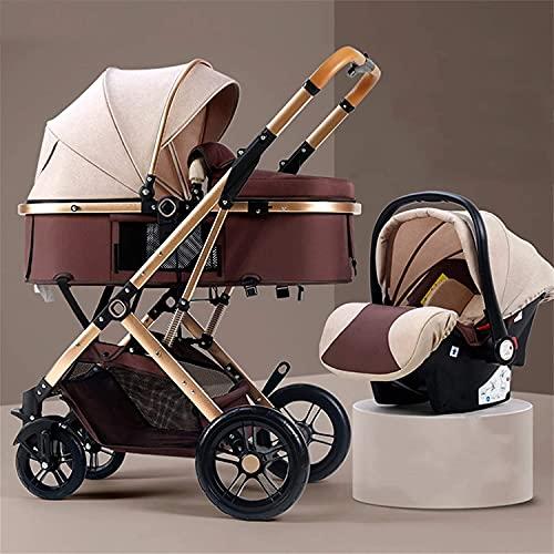 YZPTD Carro de bebé Compacto, implementación bidireccional, Cochecito de Cochecito Infantil, Cochecito de bebé Plegable con Dosel Ajustable, PRAM para bebés y niños pequeños (Color : Marrón)