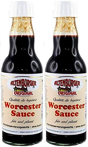 Altenburger Original Worcester Sauce, 2x200ml (400ml) in der Glasflasche, Worcestershire Sauce glutenfrei, laktosefrei, vegan, ohne Zusatz von Aromen