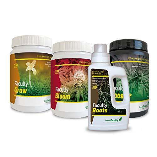 GreenFaculty - Fertilizantes Abonos Marihuana Cannabis. Kit Pack Ahorro Crecimiento, Floración, Revienta Cogollos PK y Enraizante Ecológico. Faculty Basic