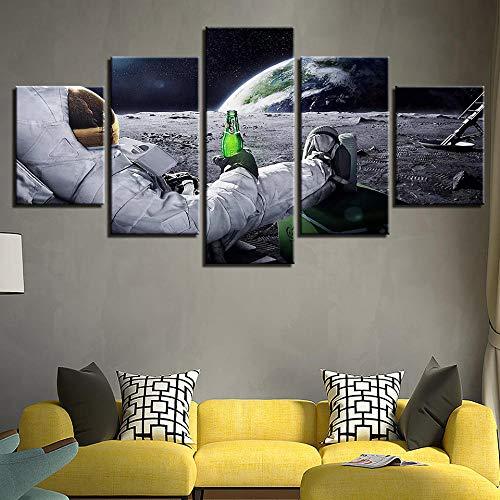 Cuadro sobre Lienzo 5 Astronauta Grabados E Impresiones Sala Dormitorio Decoración del Hogar 150 X 80cm(con Marco)