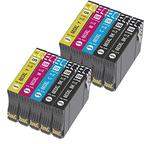 Ouguan® Cartucho de tinta compatible con Epson 603XL 603 para Epson XP-3100 XP-4100 XP-2100 XP-2105 XP-3105 XP-4105 WF-2810 WF-2830 WF-2835 WF-2850-4negro, 2cian, 2magenta, 2amarillo.