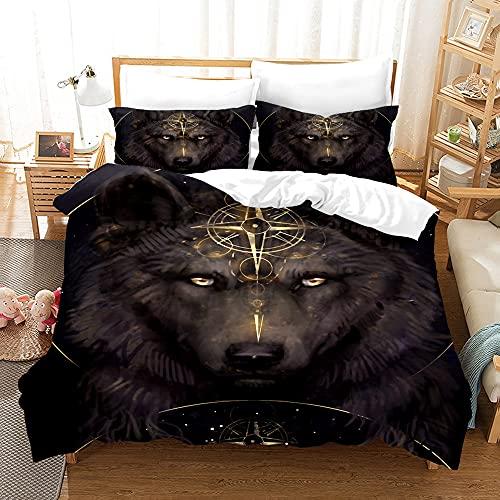 Kseyic Juego de ropa de cama 3D Wild Animal Wolf de 2/3 piezas, con cremallera, para decoración moderna de dormitorio (b,135 x 200)