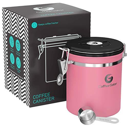 Coffee Gator-Edelstahl-Kaffeedose – Hält gemahlener Kaffee und Bohnen länger frisch – Behälter mit Datumsverfolgung, CO2-Freigabeventil und Messlöffel - Mittel - Rosa