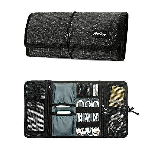 ProCase Bolsa Organizadora de Accesorios Electrónicos, Estuches de Transporte de Artilugios Pequeños Cargador Cables USB Tarjetas de Memoria SD Auriculares Disco Duro -Cuadros Negro