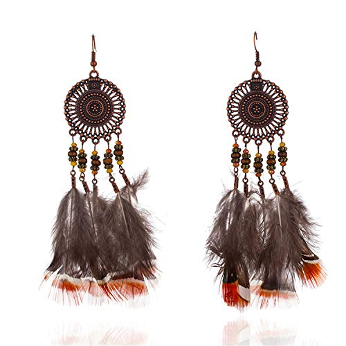 Presock Pendientes Mujer,Aretes Multiple Bohemian Ethnic Nature Feather Dangle Hanging Drop Earrings For Women NEW Boho Ear Jewelry Accessories E021076