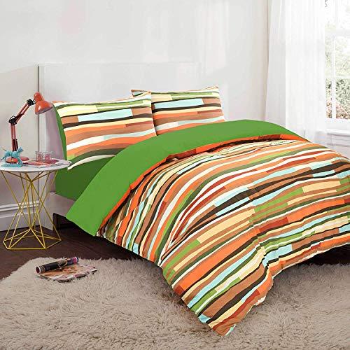 Nimsay Home, set federa e copripiumino in misto cotone stampato a strisce con motivo a onde e reversibile, Cotone, Verde Piquant, Doppio