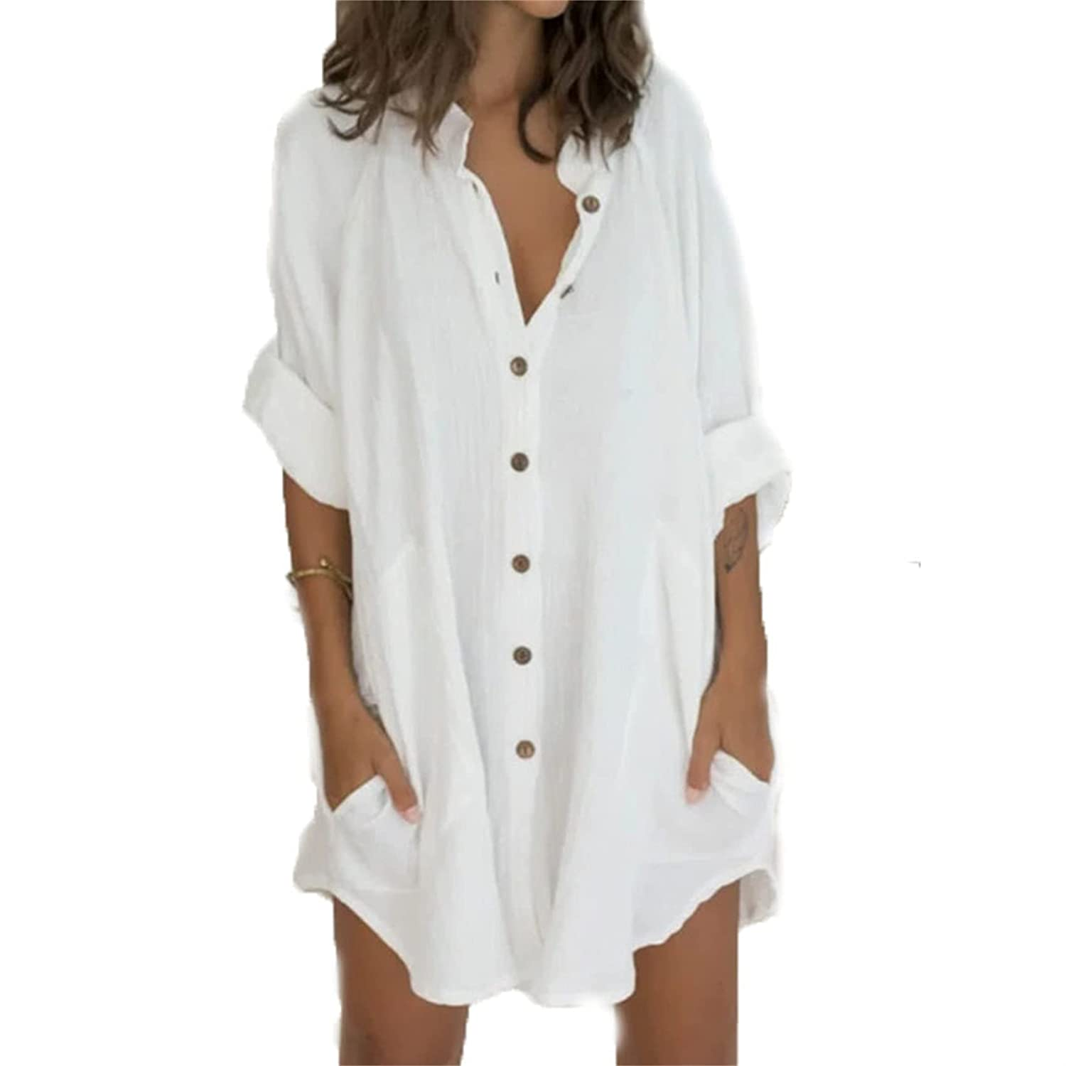 Women's Casual Linen Long Blouses Tops Button Down Shirts Cotton Shirt Dresses Tops with Pockets (Large,White)