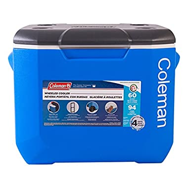 Coleman Performance Wheeled Cooler, 60-Quart, Blue/White/Dark Gray