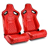 ModifyStreet 1 Pair Universal ALL Red Carbon Fiber Style PVC Leather Reclinable Racing Bucket Seats