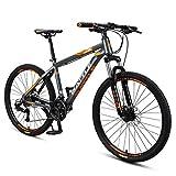 DJYD 26 Zoll Erwachsene Mountain Bikes, 27 Geschwindigkeit Hardtail Mountainbike mit Doppelscheibenbremse, Alu-Rahmen Federung vorne All Terrain Berg Fahrrad, Grau FDWFN