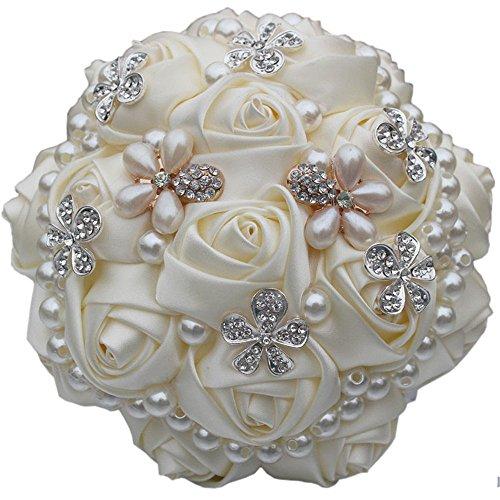 Quibine Bouquet de Roses Satin Pour Marié Mariage Fleurs Artificielles Décor Perle Strass, Dia: 21cm, Crème