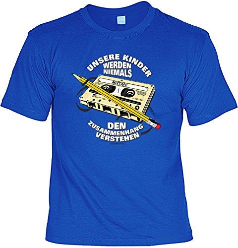 T-Shirt - Kasette und Bleistift - Kinder verstehen Zusammenhang Nicht - lustiges Sprüche Shirt als Geschenk für Leute mit Humor
