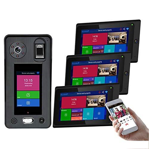 Timbre con video inalámbrico WiFi, intercomunicador bidireccional con videoportero, cámara de visión nocturna, desbloqueo de la APP de reconocimiento facial de huellas dactilares,3 monitors