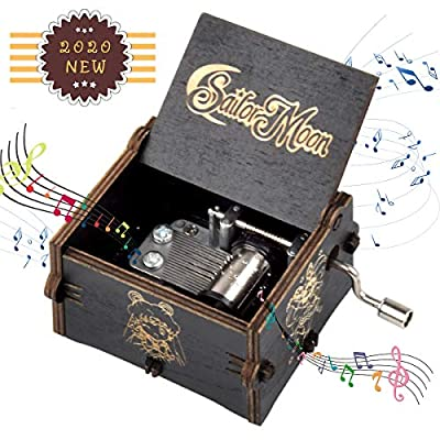 fezlens Wood Music Boxes Sailor Moon Antique Engraved Wooden Musical Box Gifts for Birthday/Christmas/Valentine's Day/Thanksgiving Days Hand-Operated Present Kid Toys ?Black?