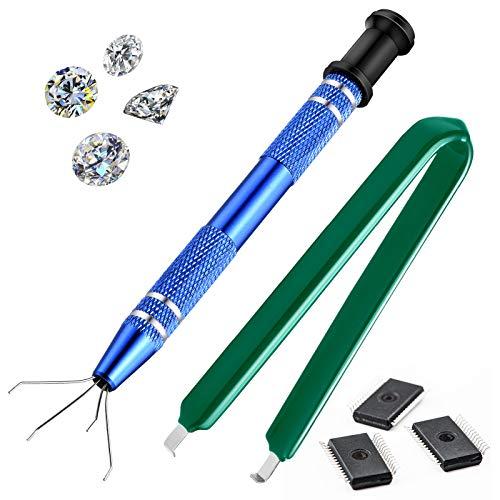 2 Stück 4 Klauen Pick-up werkzeug 4 Zinken Greifer und IC Clip Zange IC Abzieher für Kleinteile IC Chip, Elektronische Komponenten, Muttern für Schmuck Herstellung oder Nagelklemmung