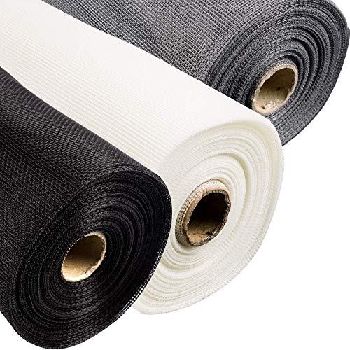 Hyishion vliegenhor voor deuren en ramen van glasvezel - doek van stof, in te korten in verschillende maten en kleuren naar keuze, wit, 1 m x 10 m