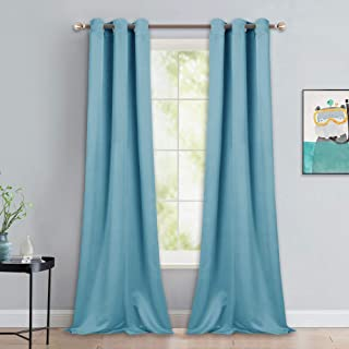 NICETOWN Room Darkening Curtain Panels - Toddler Boy Bedroom Drapes with Grommet Top, Energy Smart Window Treatment Curtains(Teal Blue, 42 inches W x 90 inches L, 2 Panels)