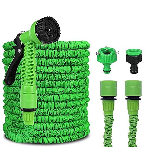 VISNAR Tubo da Giardino, Estensibile Retrattile, 50 FT 15M Tubo Estensibile da Giardino con 8 Funzioni di Spruzzo Tubo Estensibile da Giardino per Camper, Cortile, Giardino, Autolavaggio(Verde)